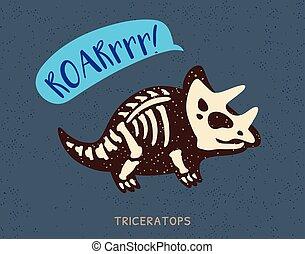 Cartoon triceratops dinosaur fossil. Vector illustration