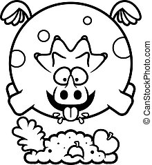 Cartoon Triceratops Eating - A cartoon illustration of a...