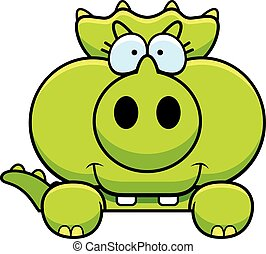 Cartoon Triceratops Peeking - A cartoon illustration of a...