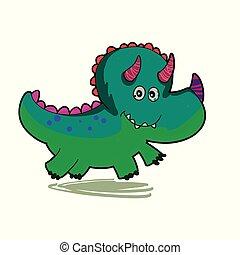 Cartoon triceratops running - green dinosaur