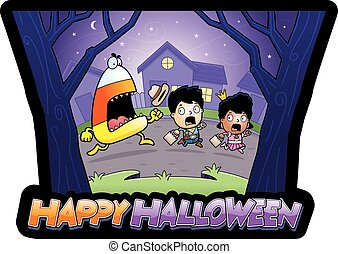 A cartoon illustration of trick-or-treaters running away from a candy corn monster.