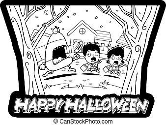 Cartoon Trick-or-Treat Halloween