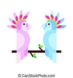 Cartoon tropical parrot wild animal bird vector illustration...
