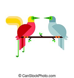 Cartoon tropical peacock couple wild animal bird vector illustration and wildlife cute feather zoo color nature vivid perch tropics fly jungle pretty tail.