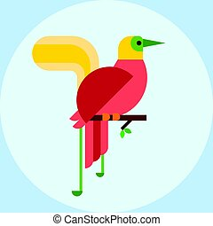 Cartoon tropical peacock wild animal bird vector illustration and wildlife cute feather zoo color nature vivid perch tropics fly fauna jungle pretty tail.