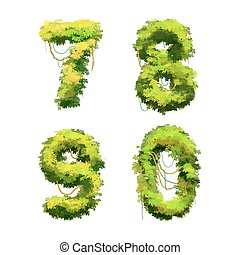 Cartoon tropical vines and bushes font isolated on white, 7 8 9 0 glyphs
