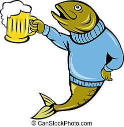 cartoon Trout fish beer mug - illustration of a cartoon...