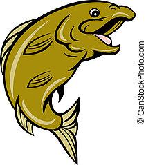 cartoon trout fish jumping