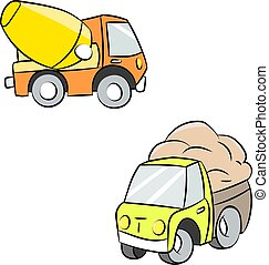 Cartoon truck and cement mixer vector illustration
