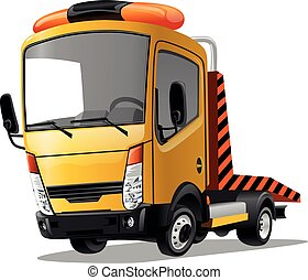 Cartoon truck isolated on white background. Vector illustration.