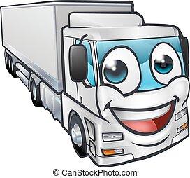 Cartoon Truck Lorry Transport Mascot Character