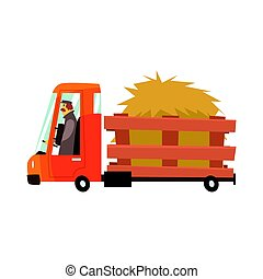 Cartoon truckload of hay, farmer truck vector Illustration...