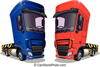 Cartoon trucks isolated on a white background. Vector illustration.