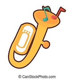 cartoon tuba wind brass music instrument
