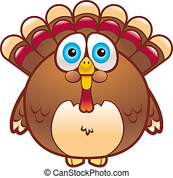 A cartoon fat turkey that is brown in color.