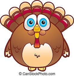 Cartoon Turkey - A cartoon fat turkey that is brown in...