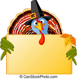 Cartoon Turkey Banner - Cartoon turkey over blank sign