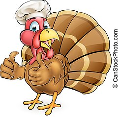 Cartoon Turkey Bird Chef Giving Thumbs Up