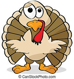 Cartoon turkey - Cartoon illustration of a turkey looking...