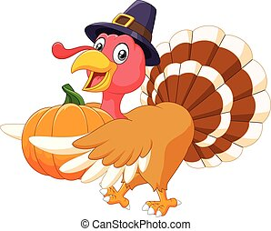 Cartoon turkey holding a pumpkin