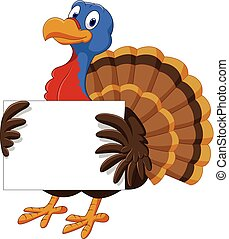 Cartoon turkey holding blank sign
