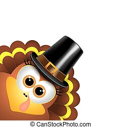 Cartoon turkey in a pilgrim hat.