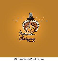 Cartoon turkey in pilgrim hat. Thanksgiving vector illustration.