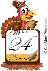 Cartoon turkey pilgrim hat presenting Thanksgiving Day calendar