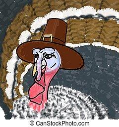 Cartoon Turkey pilgrim on Thanksgiving Day. Vector illustration