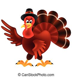 Cartoon turkey thanksgiving day isolated vector illustration