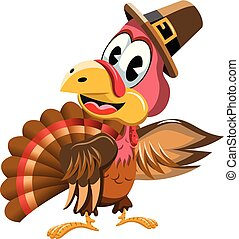 Cartoon turkey with pilgrim hat presenting isolated