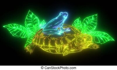 cartoon turtle and frog illustration art