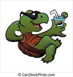 Cartoon Turtle Drinking Cocktail. vector illustration
