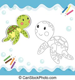 Coloring book - Cartoon turtle isolated on white. Coloring...