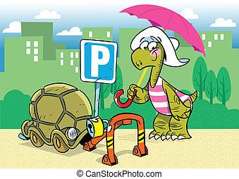 cartoon turtle - The illustration shows a funny cartoon...