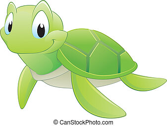Cartoon Turtle - Vector illustration of a cute cartoon...