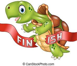 Cartoon turtle wins by crossing
