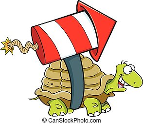 Cartoon turtle with a rocket.