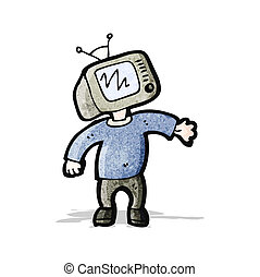 cartoon tv head man