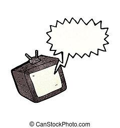 cartoon tv screen with speech bubble