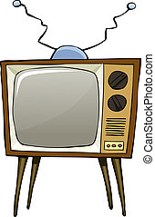 Cartoon tv - TV on a white background, vector illustration