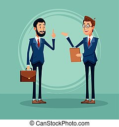 cartoon two businessmen standing talking, colorful design
