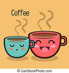 cartoon two cup coffee expression design
