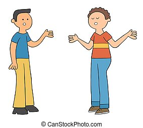 Cartoon two friends talking to each other, vector illustration