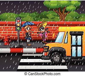 Cartoon two girl carrying umbrella under the rain on the roadside