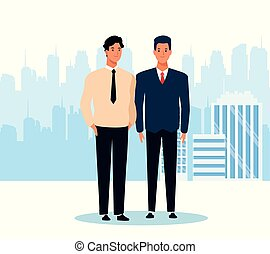 cartoon two men standing, colorful design