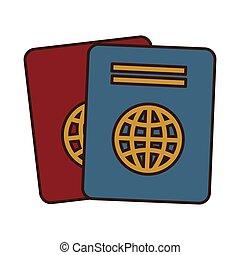 cartoon two passport identification tourist