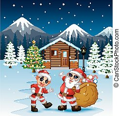 Cartoon two Santa in front of a snowy wooden house and holding a sack containing a present