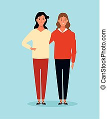 cartoon two women standing, colorful design
