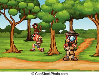 Cartoon two zookeeper in the jungle
